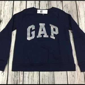 Gap Girls XS 4-5 Navy Blue & Silver Sweatshirt